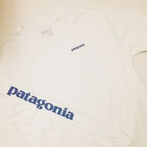 Patagonia logo blue and white long sleeve top